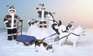 Animated eskimo and huskey figures